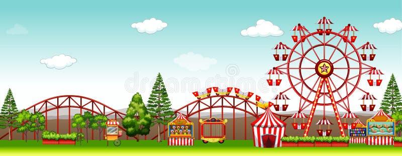 Parque de atracciones en el tiempo del día ilustración del vector