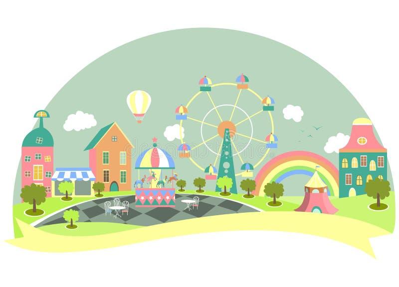 Parque de atracciones en estilo plano libre illustration
