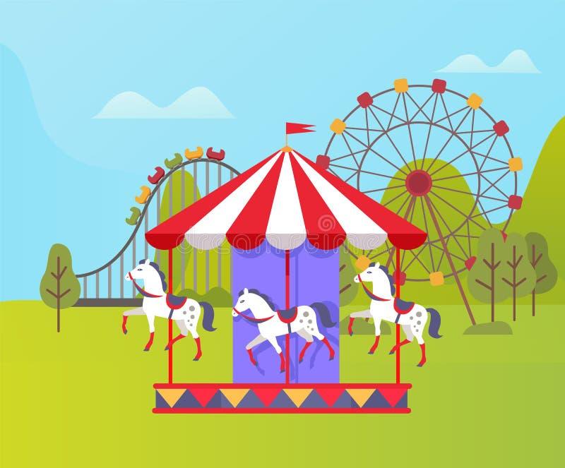 Parque de atracciones, Ferris Wheel y naturaleza del carrusel stock de ilustración