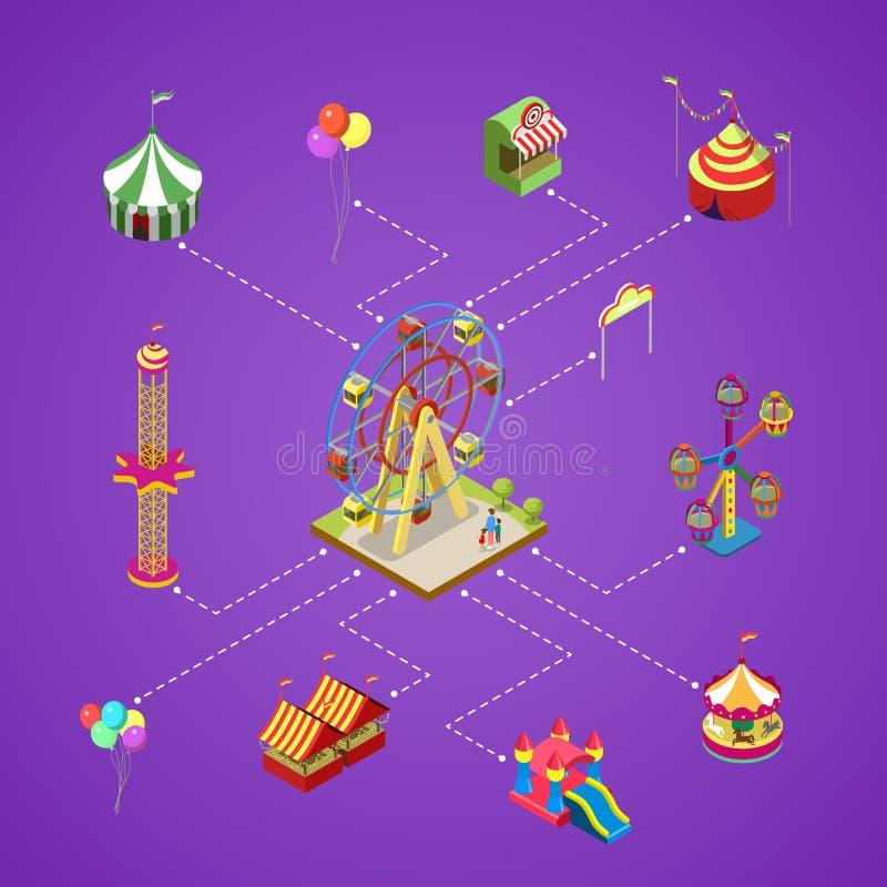 Parque de atracciones infographic con los elementos isométricos stock de ilustración