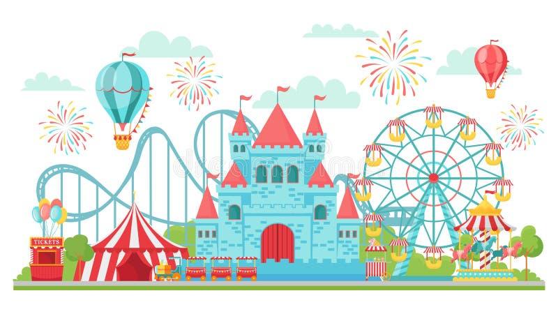 Parque de atracciones La montaña rusa, el carrusel del festival y las atracciones de la noria aislaron el ejemplo del vector stock de ilustración
