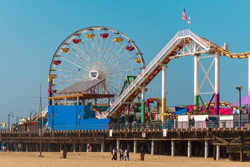 Parque de atracciones pacífico del parque en Santa Monica Pier, Los Angeles Día caliente mismo en el verano de 2018 fotos de archivo libres de regalías