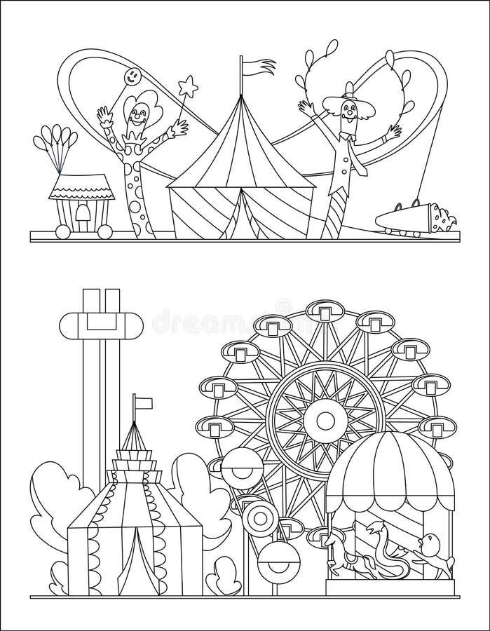 Parque de atracciones, paisaje urbano con la página del libro de colorear del balón de los carruseles, de la montaña rusa y de ai libre illustration