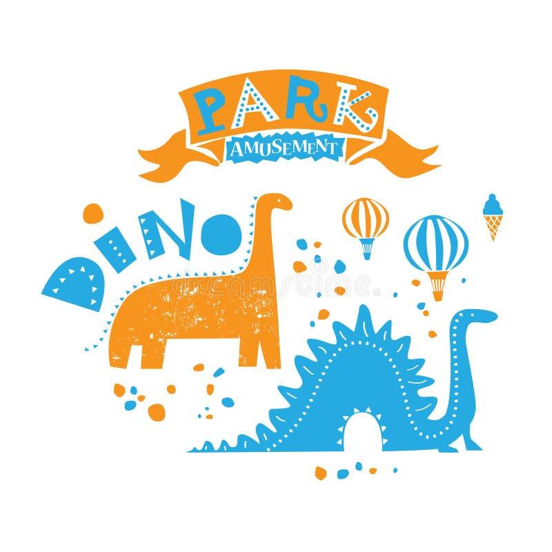 Parque de atracciones para la familia entera Ejemplo de dos paseos del dinosaurio ilustración del vector