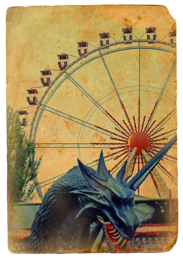 Parque de atracciones, una rueda de Ferris. ilustración del vector