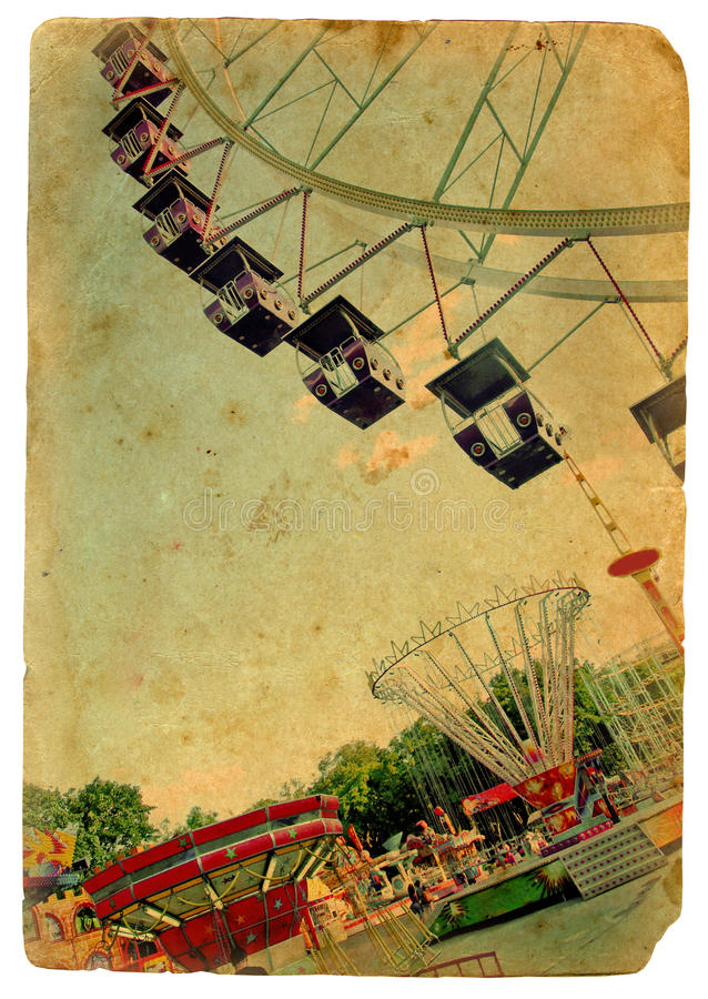 Parque de atracciones, una rueda de Ferris. Postal vieja libre illustration