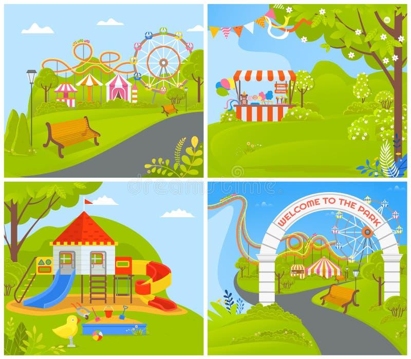 Parque de atracciones vacío con los carruseles de las atracciones stock de ilustración