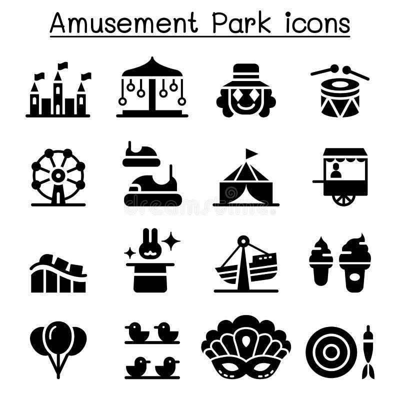 Parque de atracciones y sistema del icono del festival stock de ilustración