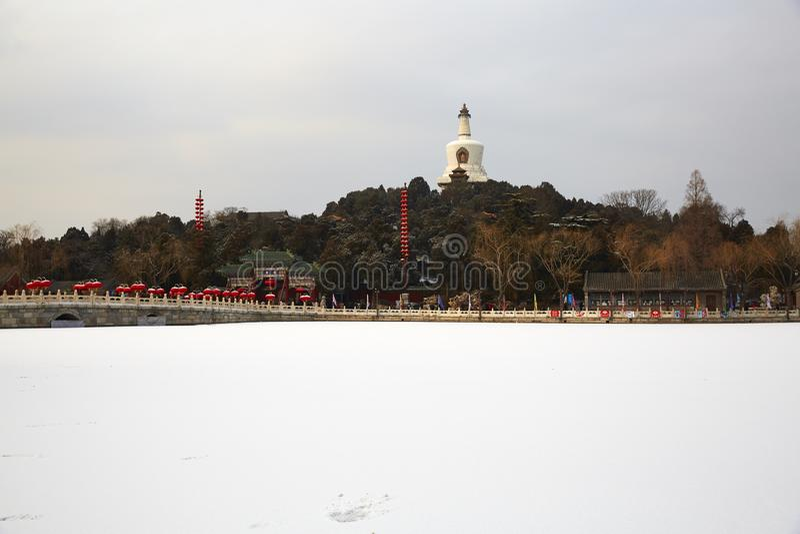 Parque de Beihai e neves, Pequim imagens de stock royalty free
