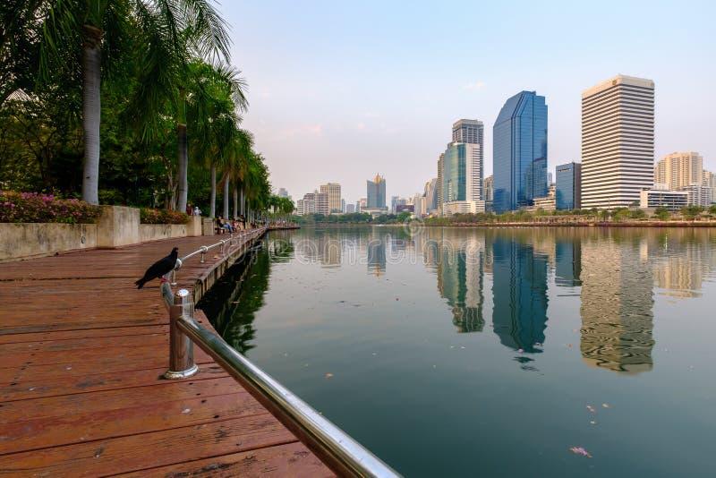 Parque de Benjakitti, ciudad céntrica de Bangkok fotos de archivo libres de regalías