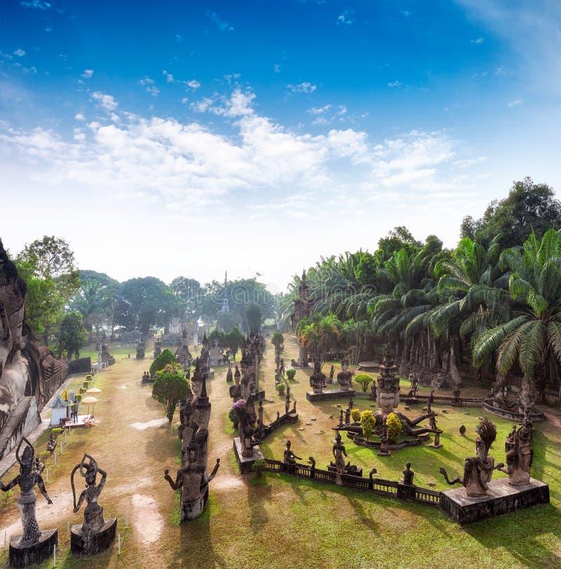 Parque de Buda en Vientián, Laos Señal famosa del turista del viaje foto de archivo