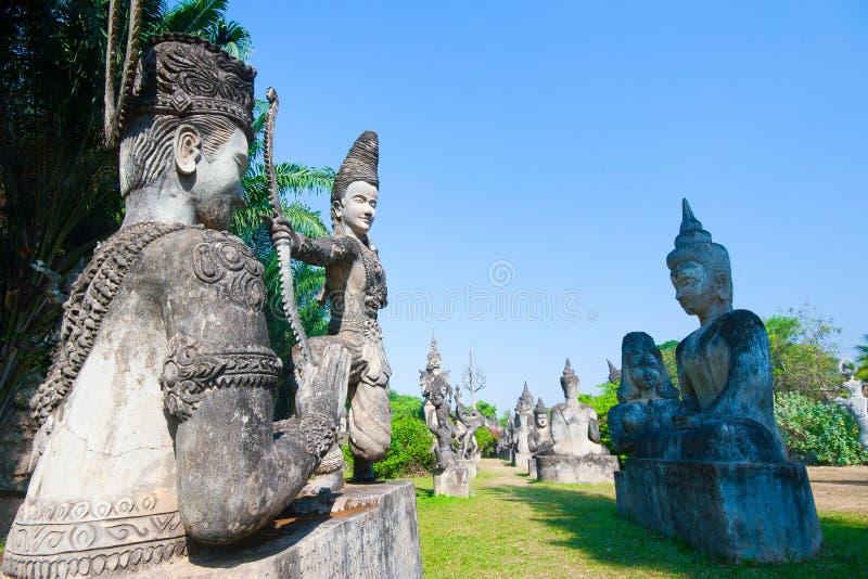 Parque de Buda en Vientián, Laos Señal turística o del viaje famoso imagen de archivo