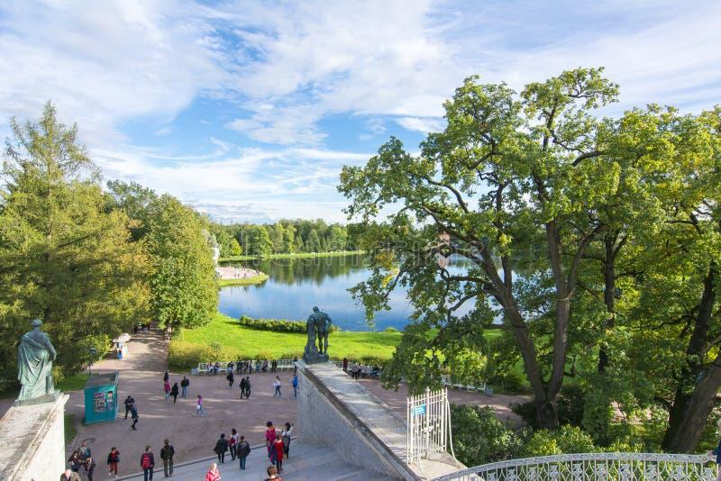 Parque de Catherine em Tsarskoe Selo, St Petersburg, Rússia imagens de stock