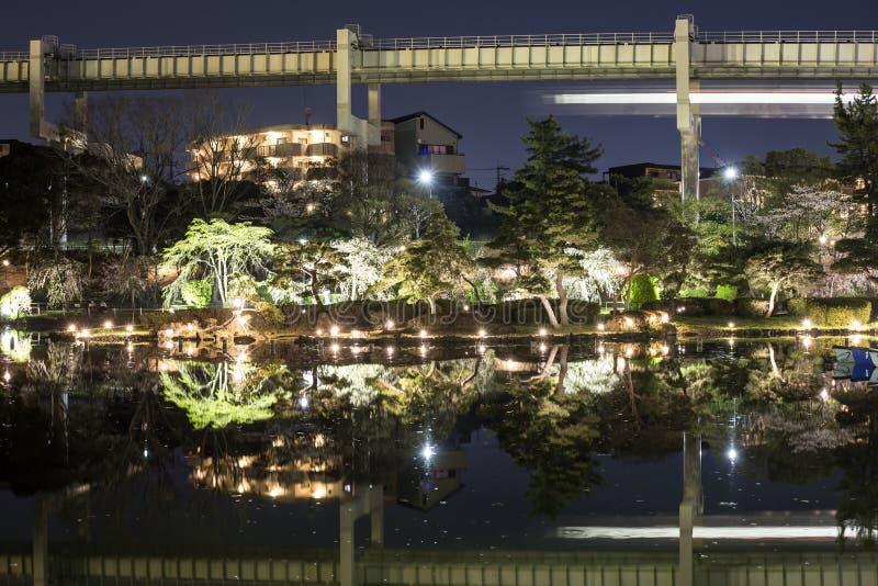 Parque de Chiba na noite durante Hanami foto de stock
