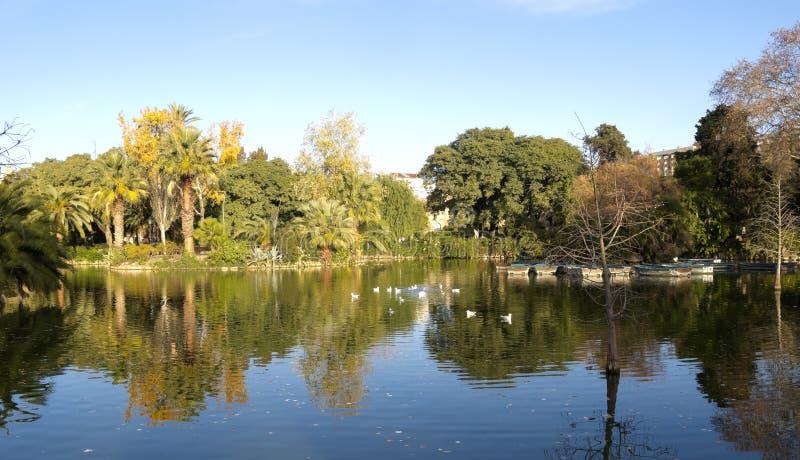 Parque de Ciutadella de la charca fotografía de archivo