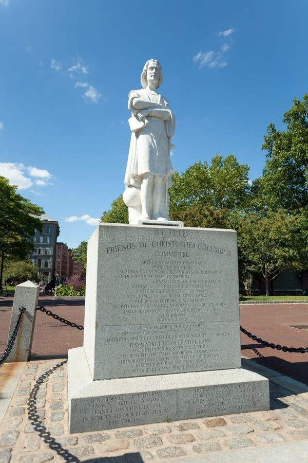 Parque de costa de Boston Colombus Statue foto de archivo