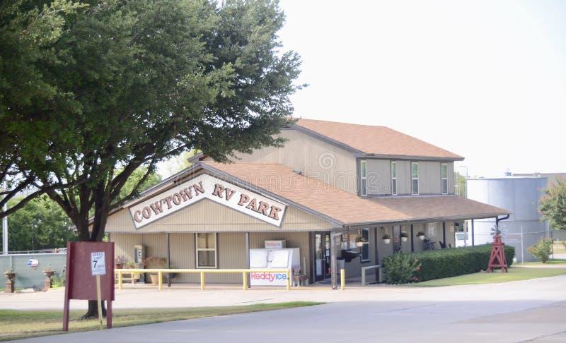 Parque de Cowtown rv, Fort Worth, Texas imagens de stock