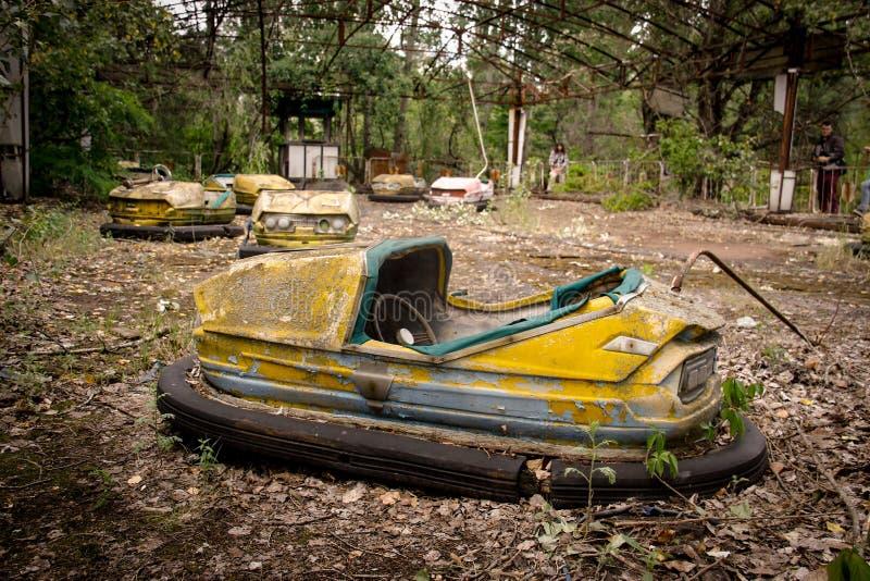 Parque de diversões abandonado na cidade fantasma de Pripyat fotografia de stock royalty free