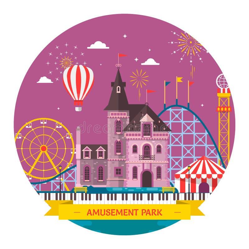 Parque de diversões com atração e roller coaster, barraca ilustração royalty free