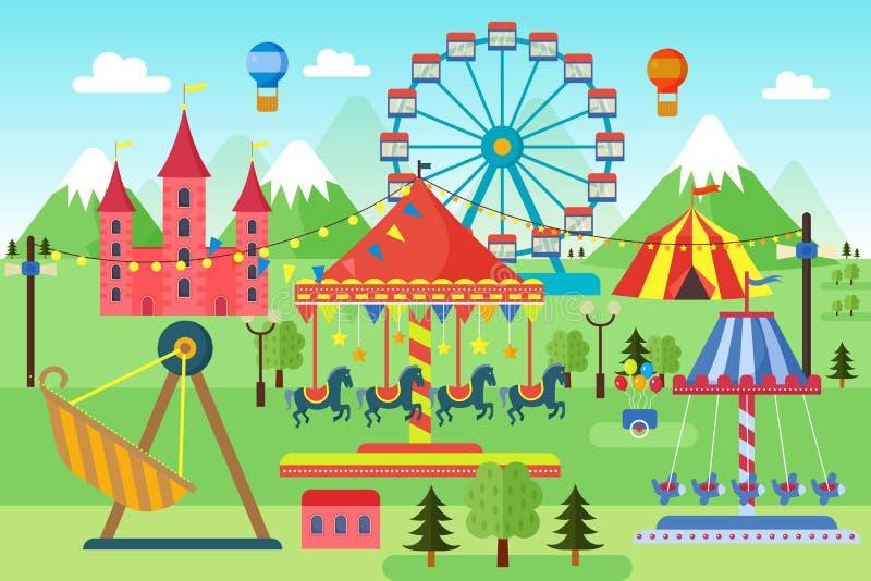 Parque de diversões com os balões dos carrosséis, da montanha russa e de ar Circo cômico, feira de divertimento Paisagem do tema  ilustração stock