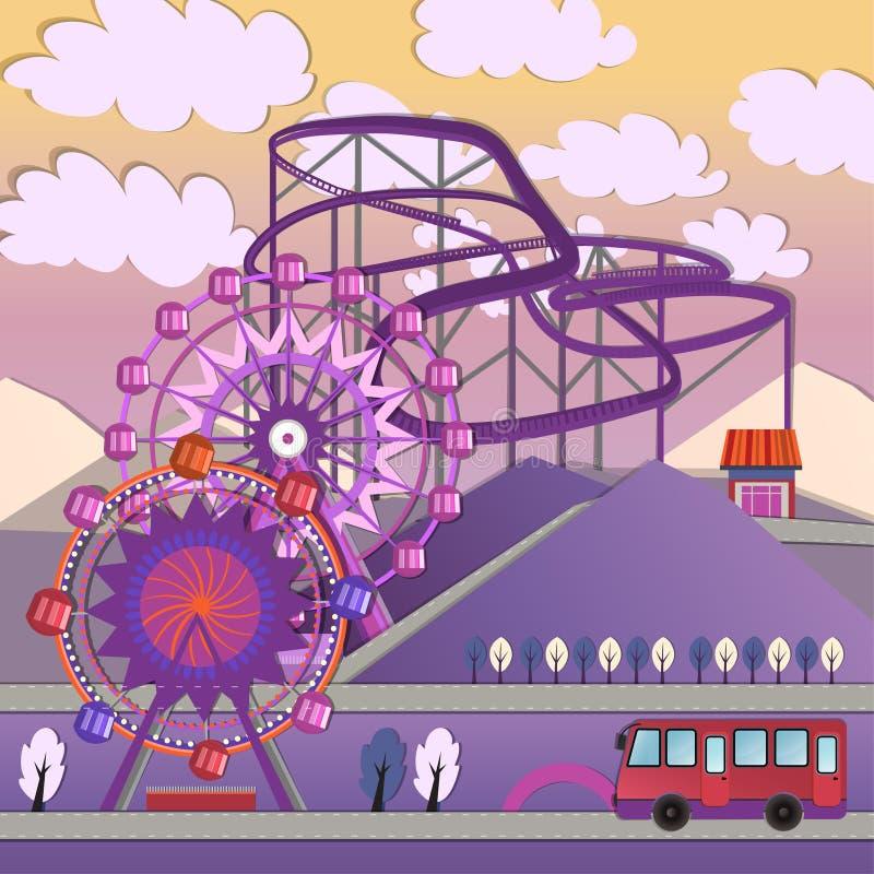 Parque de diversões de 01 cidades ilustração do vetor