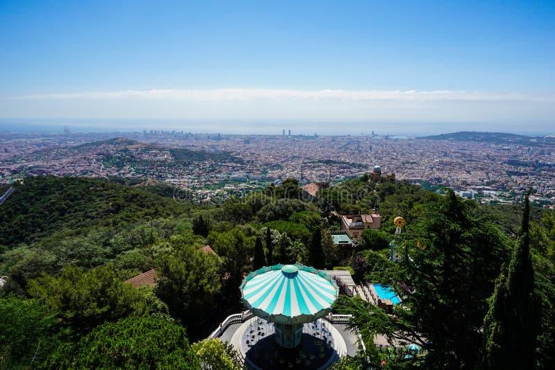 Parque de diversões do Mt Tibidabo - Barcelona foto de stock