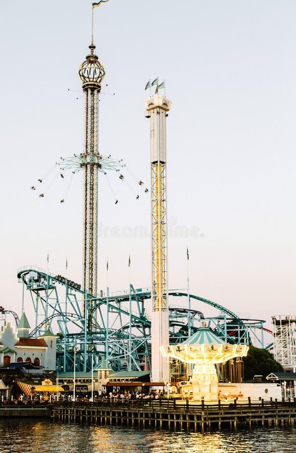 Parque de diversões em Djurgarden, Éstocolmo imagem de stock