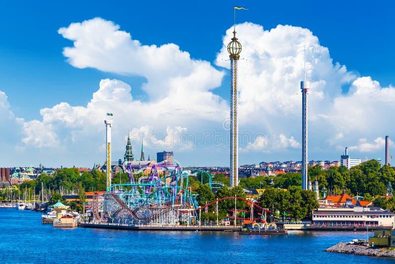 Parque de diversões Grona Lund na ilha de Djurgarden em Éstocolmo, Swe fotos de stock