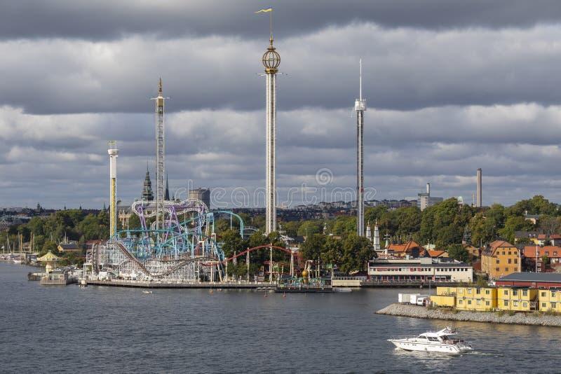 Parque de diversões de Grona Lundan - Éstocolmo - Suécia imagens de stock