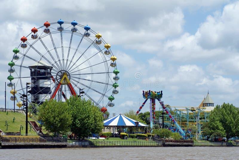 Parque de diversões no delta de Parana imagens de stock