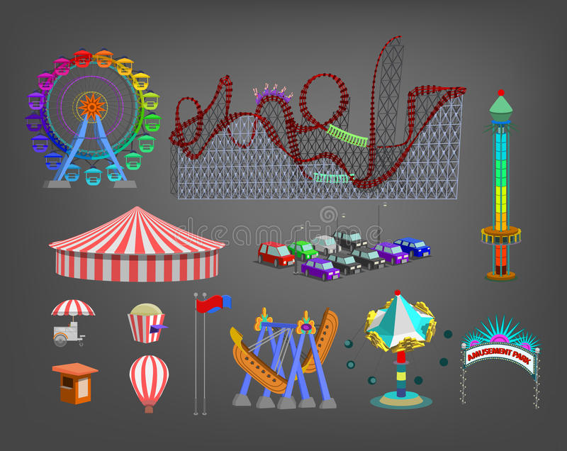 Parque de diversões para crianças com atrações e ícones do divertimento ajustados ilustração royalty free