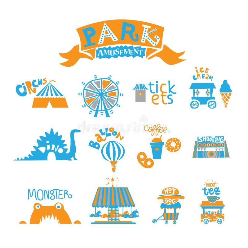 Parque de diversões de Seth para a família inteira: Roda de Ferris, caminhão do gelado, carrossel com cavalos, monstro, bebidas q ilustração stock