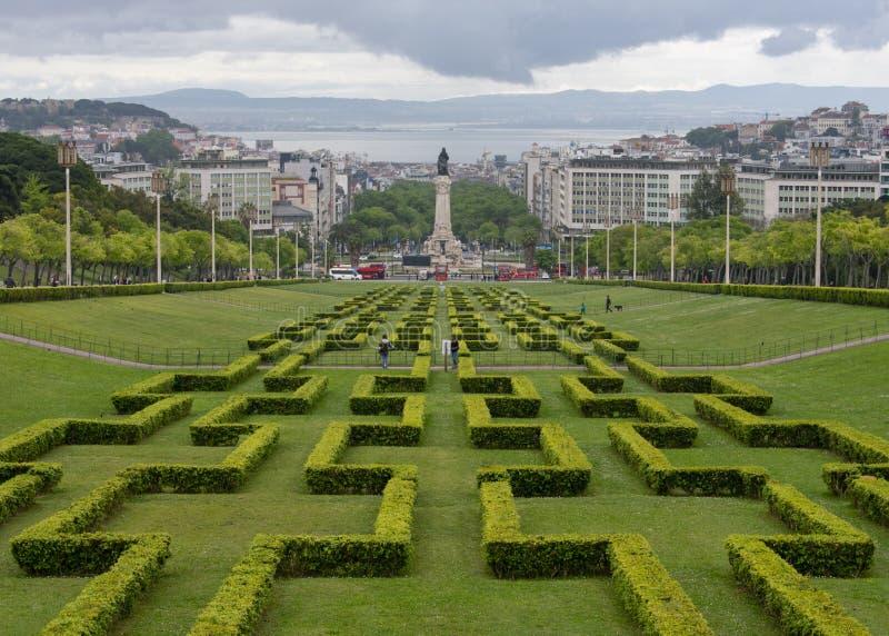 Parque de Eduardo VII em Lisboa imagens de stock