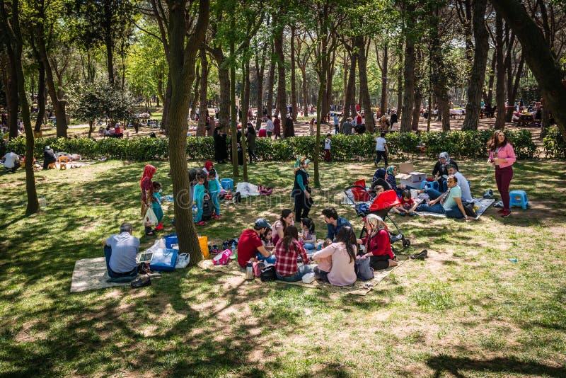 Parque de Emirgan en el fin de semana en Estambul, Turquía fotos de archivo