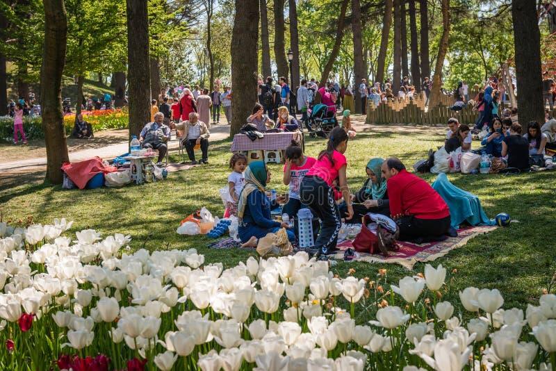 Parque de Emirgan no fim de semana em Istambul, Turquia fotos de stock royalty free