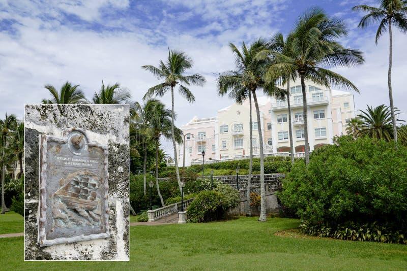 Parque de la bahía de Barrs - Hamilton, Bermudas - esclavo Route Project de la UNESCO imagen de archivo libre de regalías