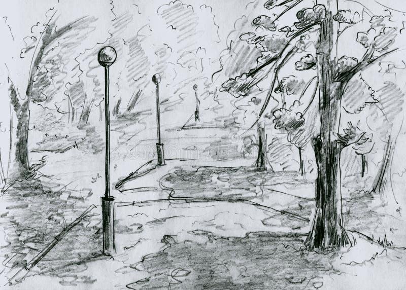 Parque de la ciudad, bosquejo stock de ilustración