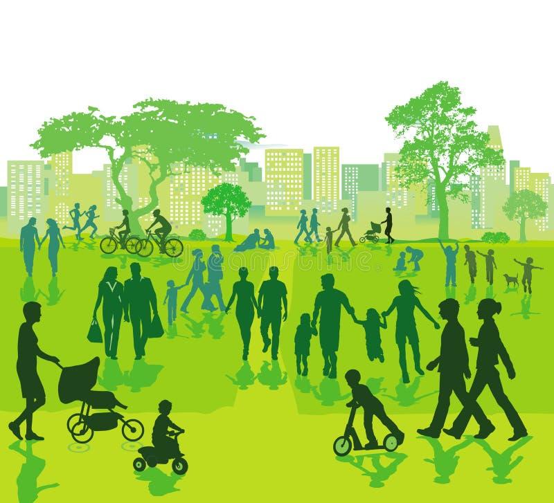 Parque de la ciudad con la gente en el ocio ilustración del vector