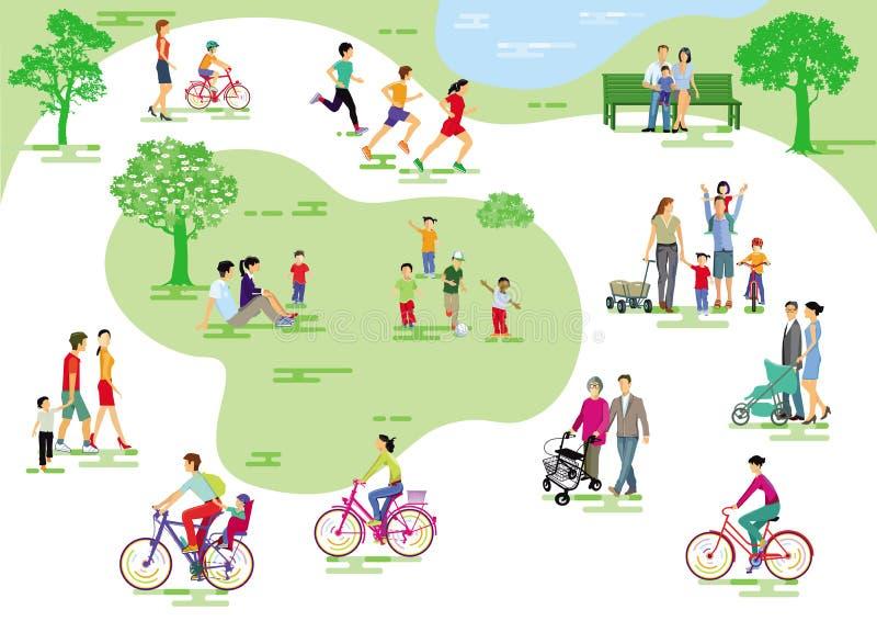 Parque de la ciudad con la gente y las familias libre illustration