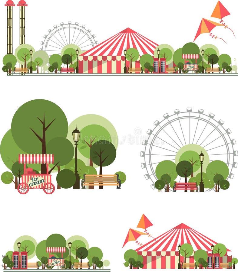 Parque de la ciudad del carnaval stock de ilustración
