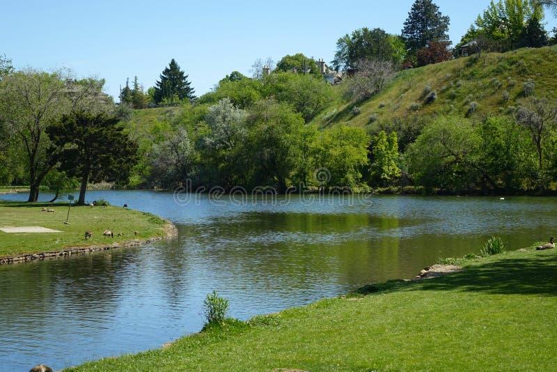 Parque de la ciudad en Boise, Idaho imagenes de archivo