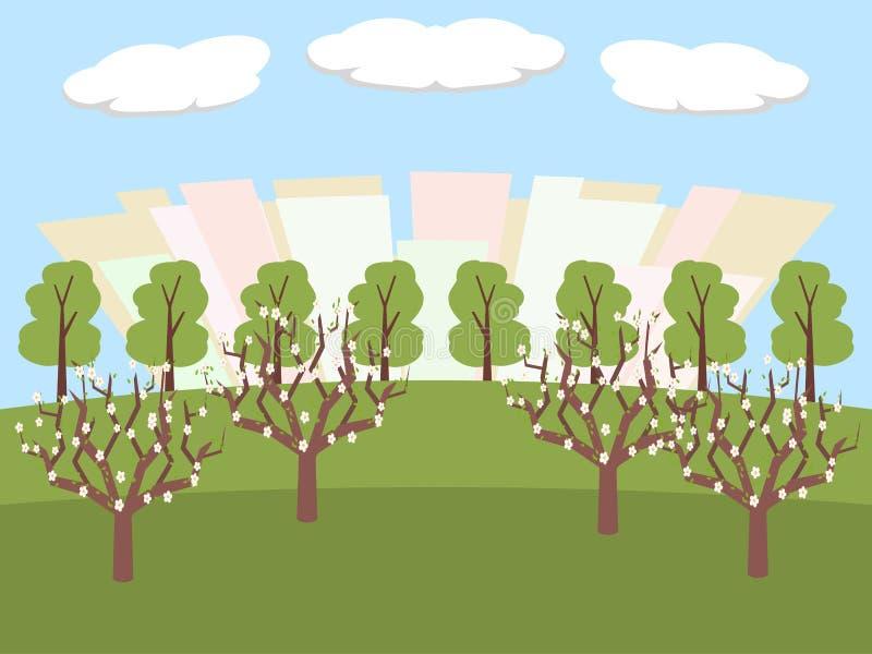Parque de la ciudad en el vector del tiempo de primavera ilustración del vector