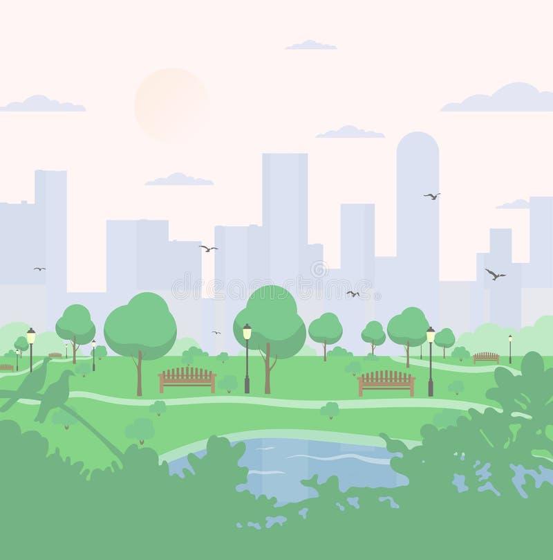 Parque de la ciudad en fondo de los edificios altos ajardine con los árboles, los arbustos, el lago, los pájaros, las linternas y ilustración del vector