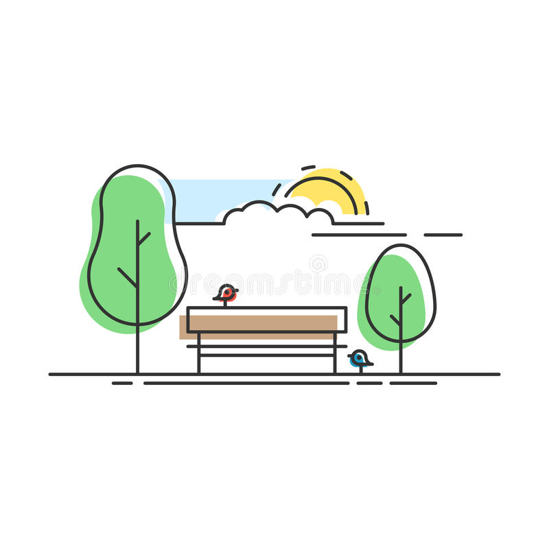 Parque de la ciudad linear stock de ilustración