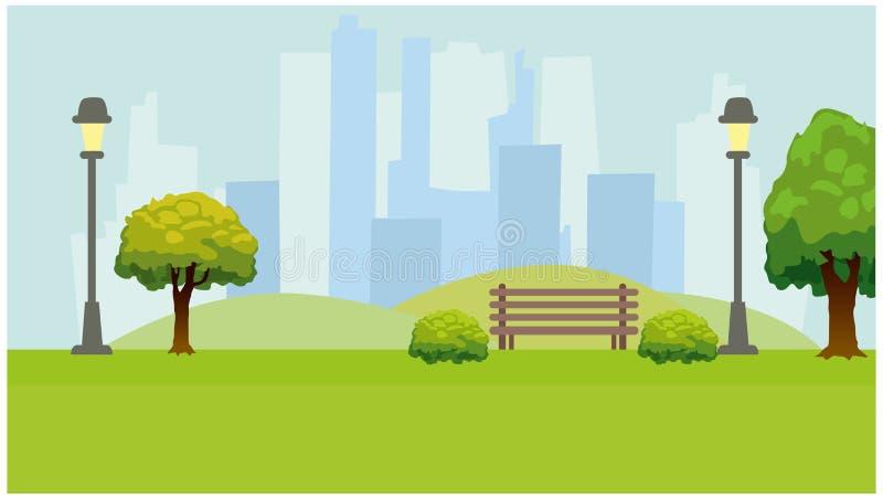 Parque de la ciudad, luces, árboles, banco Fondo horizontal verde stock de ilustración