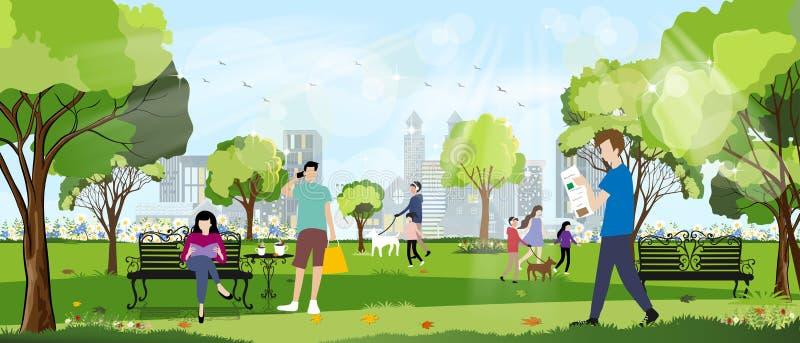 Parque de la ciudad de la mañana con feliz familia divertiéndose, chica caminando el perro, joven hablando por teléfono, hombre l stock de ilustración