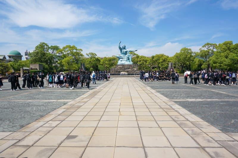Parque de la paz de Nagasaki en Nagasaki, estatua de la paz fotografía de archivo libre de regalías