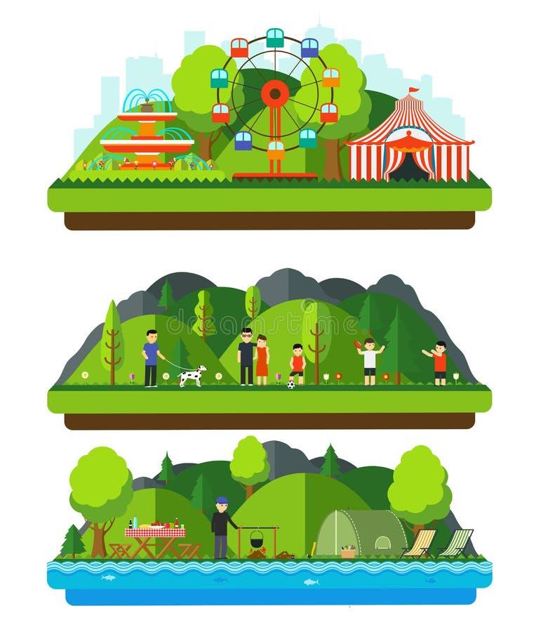 Parque de la reconstrucción con las montañas y las colinas stock de ilustración