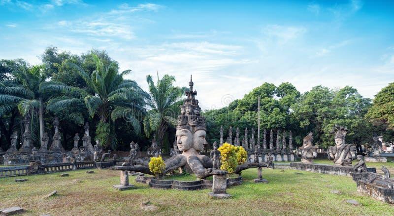 Parque de Laos Buda Atracción turística en Vientián fotos de archivo