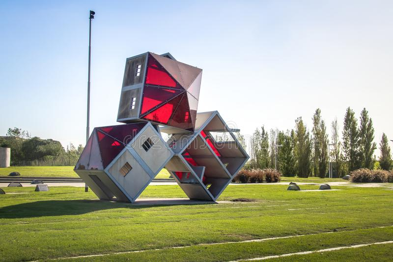 Parque De Los angeles Memoria park z zabytkami dedykującymi ofiary Militarna dyktatura - Buenos Aires, Argentyna obrazy royalty free